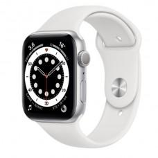 Watch Series 6 44 мм Корпус из алюминия серебристого цвета, белый спортивный ремешок