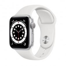 Watch Series 6 40 мм Корпус из алюминия серебристого цвета, белый спортивный ремешок